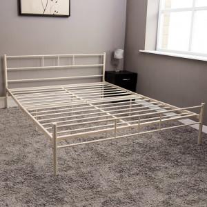 Cadru de pat, metal, crem, 78 x 142 x 197 cm