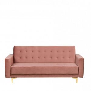 Canapea extensibila Aberdeen, catifea, roz, 83 x 186 x 88 cm