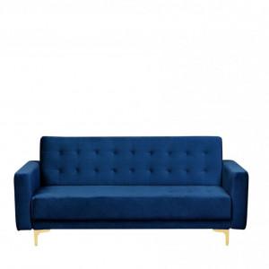 Canapea extensibila cu 3 locuri Aberdeen, catifea, albastru