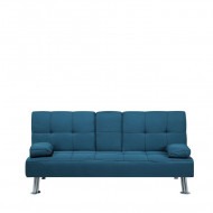 Canapea extensibila ROXEN, textil, albastra, 77 x 168 x 81 cm
