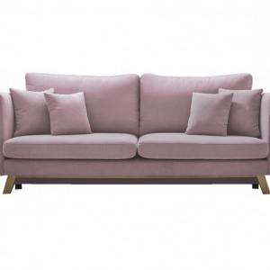 Canapea extensibilă Triplo cu 3 locuri, din catifea roz