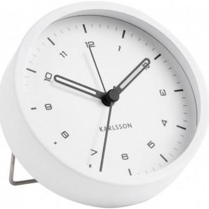 Ceas cu alarma Karlsson, alb, 9 x 3 cm