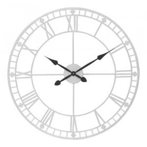 Ceas de perete Bruner, metal, argintiu, 80 x 80 x 3,5 cm