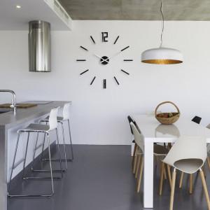 Ceas de perete Carlo XXL, sticla, negru, 75 x 75 x 3 cm