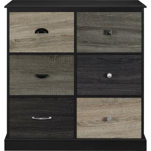 Comoda Snowy, MDF, negru/maro/gri, 91 x 89 x 40 cm