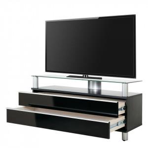 Comoda TV Dasano MDF/aluminiu, negru, 120 x 55 x 40 cm