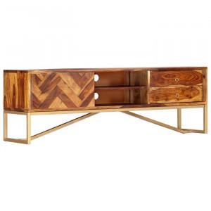 Comoda TV Frew, lemn de sheesham, maro/ bronz, 140 x 45 x 30 cm