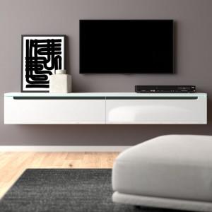Comoda TV Shively, MDF, alba, 180 x 24 x 33 cm