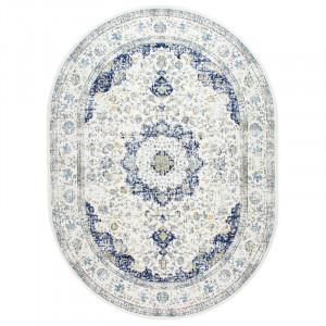 Covor albastru oriental, oval 3 'x 5'
