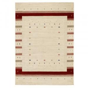 Covor Friedlander tesut manual din lana crem/rosu, 180 x 290 cm