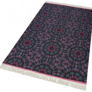 Covor Home Collection din bumbac, negru/roz, 80 x 150 cm