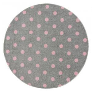 Covor, polipropilena, gri/roz, 100 cm