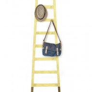 Cuier tip scara, lemn masiv, galben, 170 x 46 x 4 cm