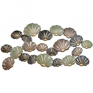 Decor de perete Clam Shell, verde/maro/gri, 123 x 61 cm
