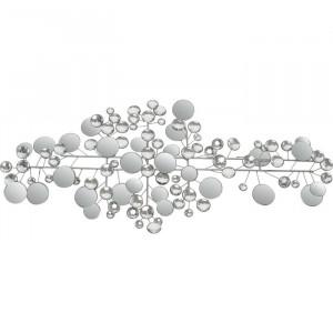 Decor de perete Ruben, metal/sticla, argintiu, 43 x 95 cm