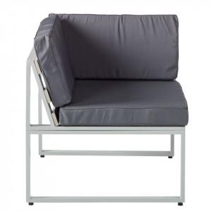 Fotoliu colt Kudo tesatura/aluminiu, gri, 75 x 69,5 x 75 cm