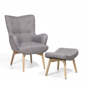 Fotoliu cu scaun pentru picioare Vejle, gri, 81 x 78 x 100 cm