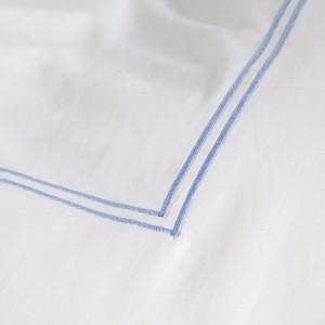 Lenjerie Smood - 135 x 200 cm + Fete de perna 80 x 80 cm - alb/albastru