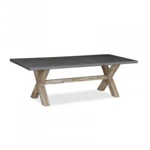 Masă Cardoza din lemn masiv și blat de beton, 190cm L x 100cm W x 75.5cm H