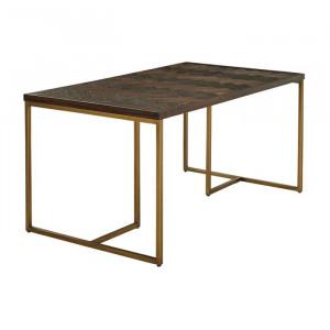 Masa Casas, lemn/metal, maro, 160 x 90 x 75,5 cm