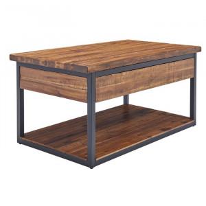 Masă de cafea Vanna, lemn masiv de salcam, negru/maro, 50,8 x 106,68 x 66,69 cm