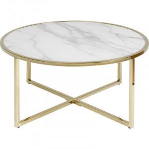 Masa de cafea West Beach, alb/auriu, 45 x 80 x 80 cm