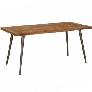 Masa Kapal, lemn masiv, negru/maro, 160 x 76 x 80 cm