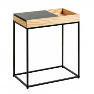 Masa laterala Detail, maro/negru, 50 x 55 x 30 cm