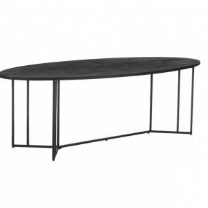 Masă ovală Luca, lemn/metal, neagra, 240 x 75 x 100 cm