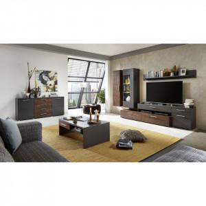 Mobilier living Fabara 4 piese, Pal, gri mat/ decor bronz