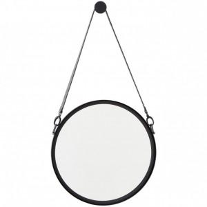Oglindă de perete cu curea din piele Liz, negru