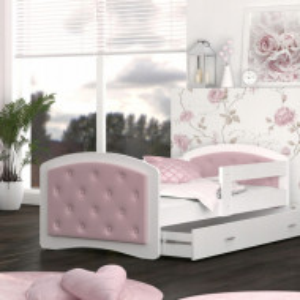 Pat pentru copii Megi, cu spatiu de depozitare, alb/roz, 203 x 95 x 65 cm