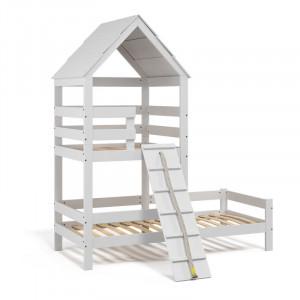 Pat pentru copii Teddy, lemn masiv, alb, 235 x 108 x 208 cm