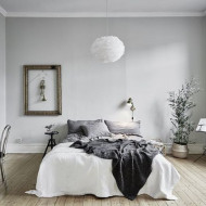 Pendul cu abajur din pene FOG, alb, cablu alb, 35 x 20 cm
