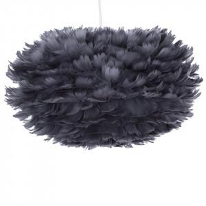 Pendul cu abajur din pene FOG, gri inchis, cablu alb, 45 x 30 cm
