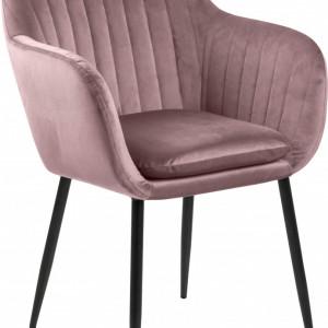 Scaun Emilia, catifea, roz/negru, 57 x 83 x 59 cm