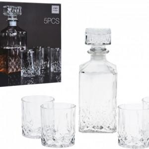 Set 4 pahare si sticla pentru whisky Karll, sticla