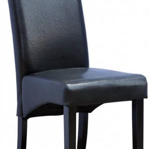 Set de 12 scaune de living Cambridge, piele sintetica neagra, picioare lemn inchis, spatar curbat