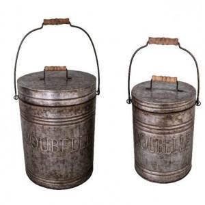 Set de 2 cosuri de gunoi Renata din metal