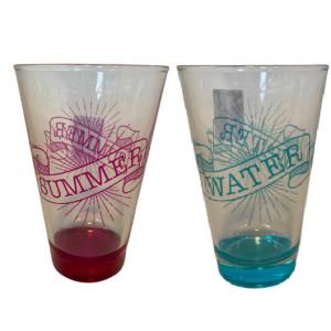 Set de 2 pahare pentru apa, roz/ albastru