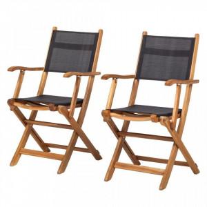 Set de 2 scaune Aka Nature I rabatabile Textil/ lemn masiv de salcam