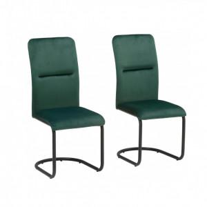 Set de 2 scaune Amabella Freja, catifea /metal, verde, 43x54x97 cm