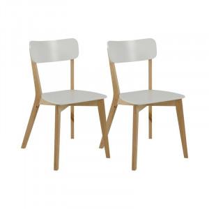 Set de 2 scaune Archibald, alb/maro, 79 x 40,5 x 48,5 cm