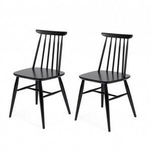 Set de 2 scaune Ascella, lemn masiv, negru, 81 x 42,5 x 45 cm