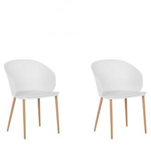 Set de 2 scaune Blaykee, alb/maro, 48 x 52 x 81 cm