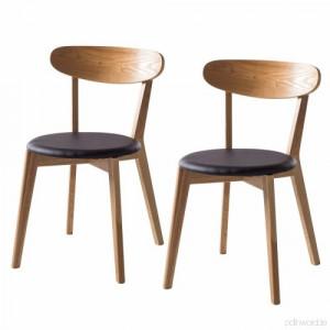 Set de 2 scaune Bogmoor cu suport din lemn masiv/tesatura, maro/negru, 48 x 79 x 42 cm