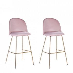Set de 2 scaune de bar Arcola din catifea roz