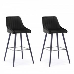Set de 2 scaune de bar Glam negru, catifea, 51x53x106 cm