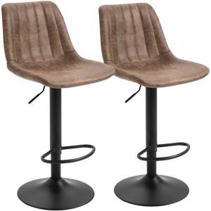 Set de 2 scaune de bar Helotes, metal/piele, maro, 43 x 46,5 cm
