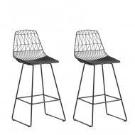 Set de 2 scaune de bar Preston, negre, 49 x 54 x 113 cm